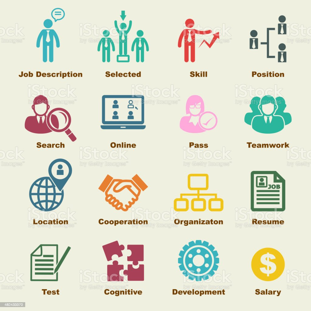 human resources elements vector art illustration