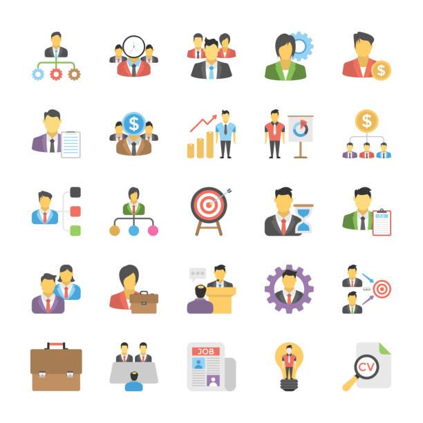 illustrations, cliparts, dessins animés et icônes de des ressources humaines icônes plat ensemble - chef de projet
