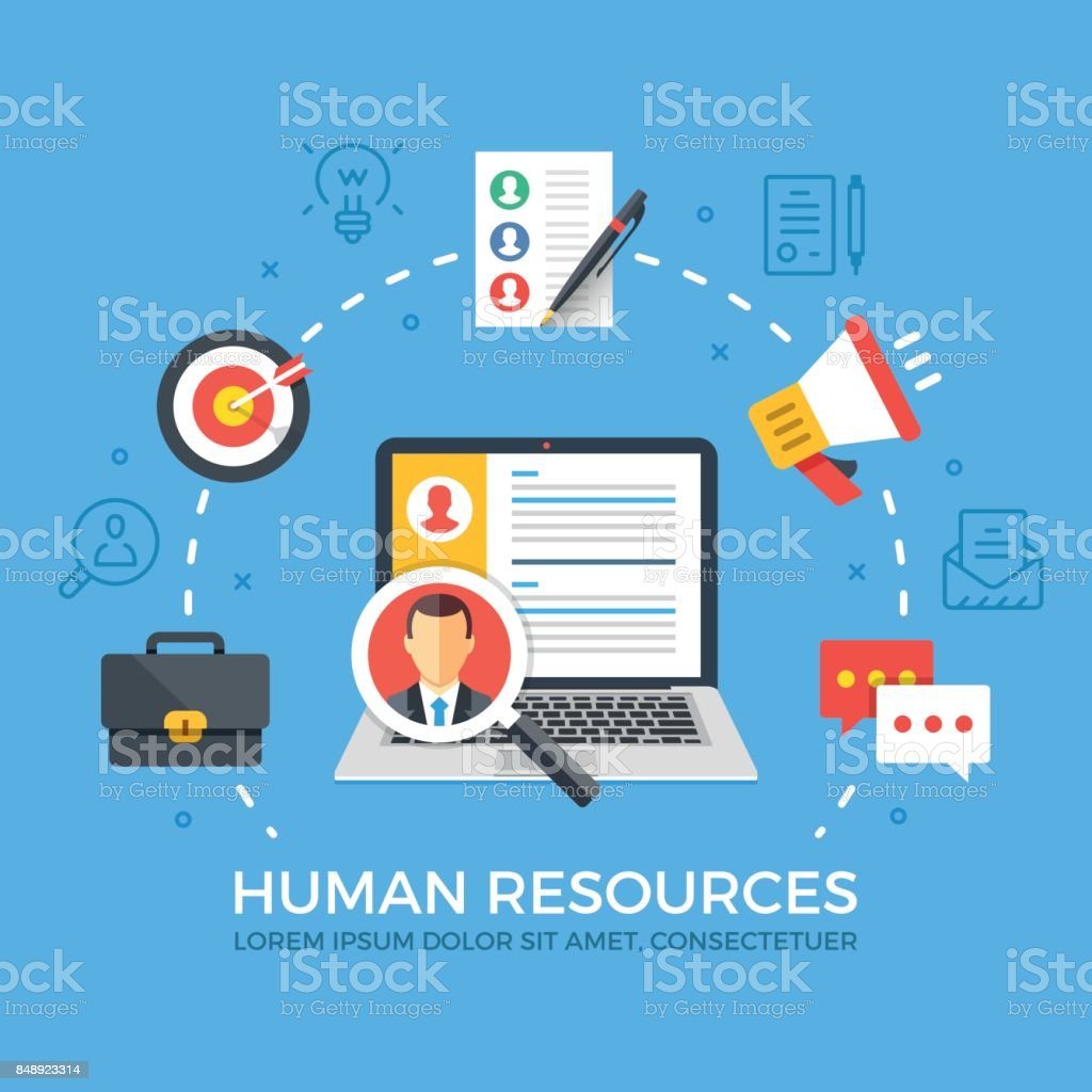 Human resources flat illustration concept. Laptop with magnifying glass. Creative flat icons set, thin line icons set, modern graphic elements. Vector illustration royalty-free human resources flat illustration concept laptop with magnifying glass creative flat icons set thin line icons set modern graphic elements vector illustration stock illustration - download image now