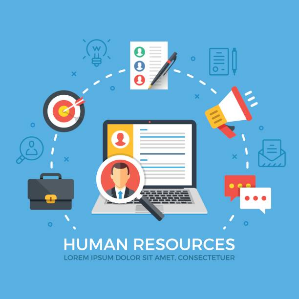 human resources flat illustration concept. laptop with magnifying glass. creative flat icons set, thin line icons set, modern graphic elements. vector illustration - flat design icons stock illustrations, clip art, cartoons, & icons