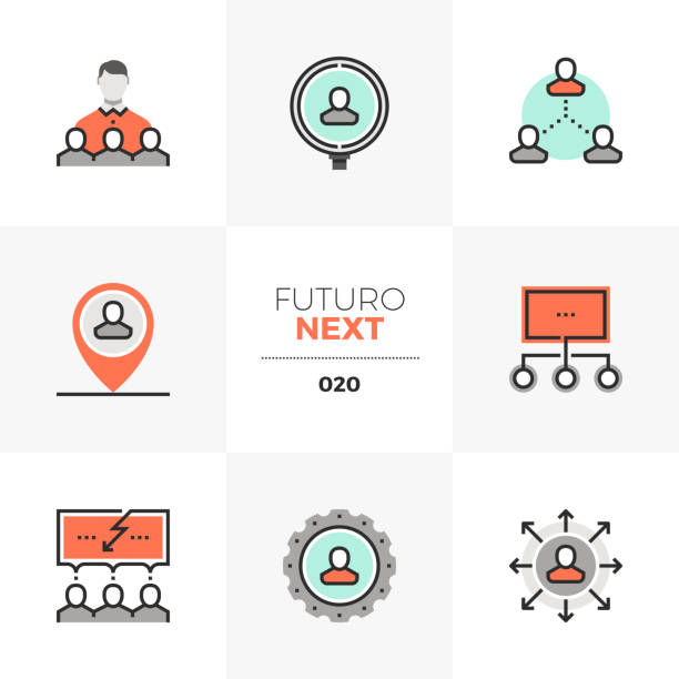 Human Resources Futuro Next Icons Semi-flat icons set of human resource management and recruitment. Unique color flat graphics elements with stroke lines. Premium quality vector pictogram concept for web, branding, infographics. military recruit stock illustrations