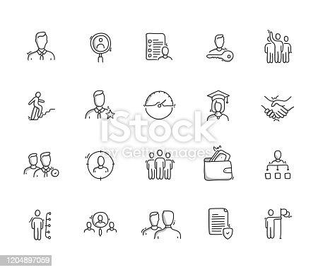 Human Resources Hand Draw Line Icon Set