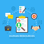 Human resources. HR, find employees, job search, recruiting agency concepts. Modern flat design style graphic elements. Thin line icons set and flat icons set for web banners, websites, infographics, printed materials. Premium quality. Vector illustration