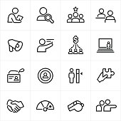 Human resources, HR, Hiring, recruiting icons, symbols. All strokes are expanded and merged together.