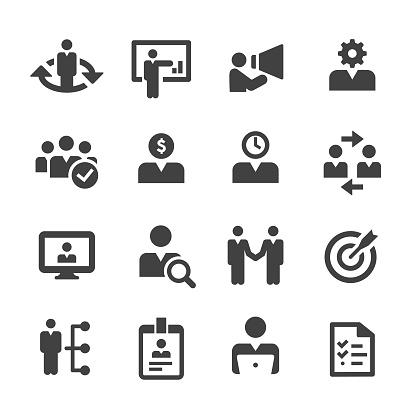 Human Resources Icons Set Acme Series Stock Illustration