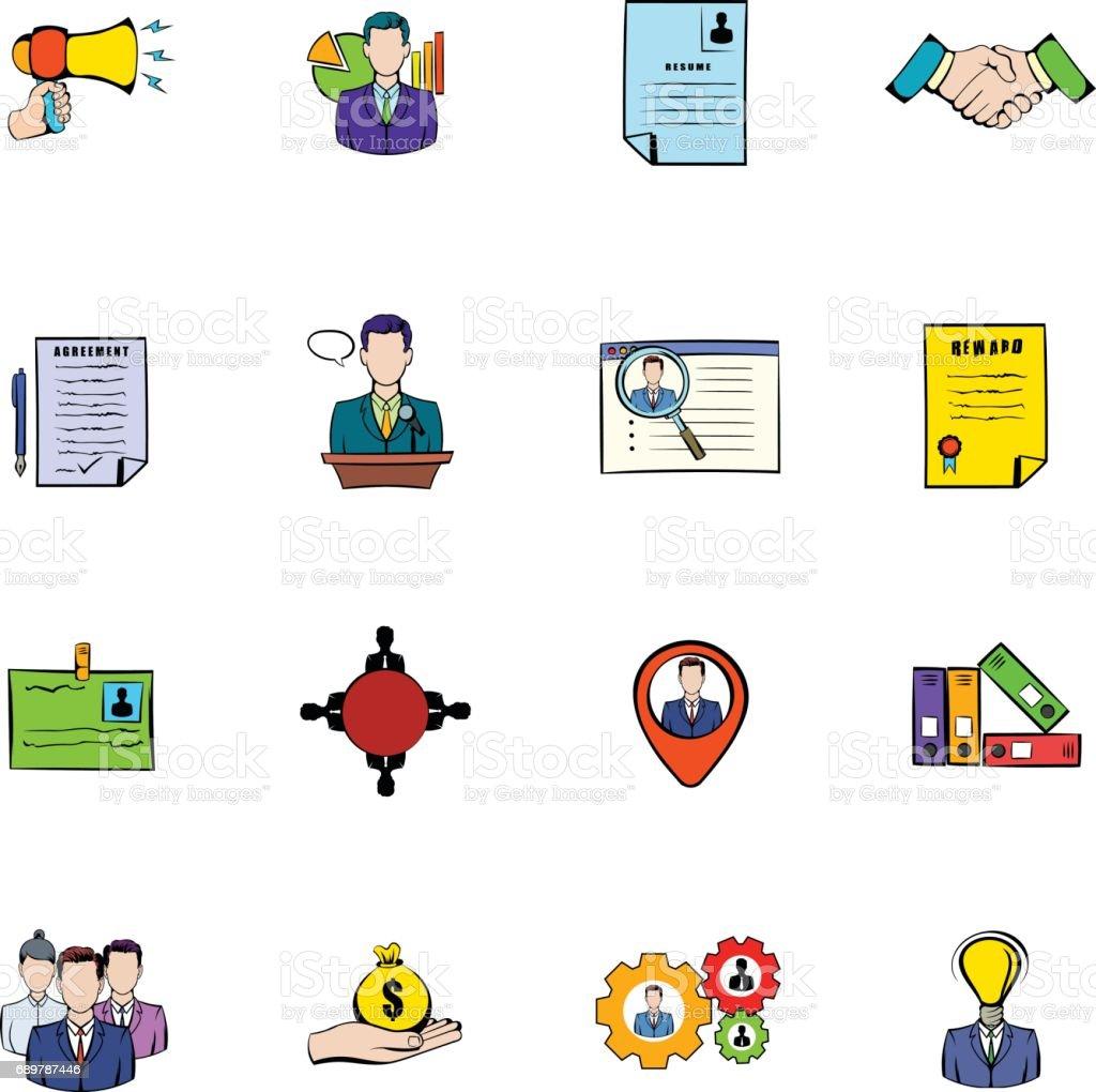 Ilustración De Iconos Recursos Humanos Sistema De Dibujos Animados Y