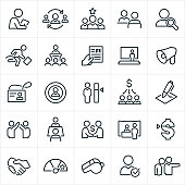 A set of human resources icons. The icons include a human resource manager, hiring, job candidates, job interview, search, employee with briefcase, business meeting, presentation, resume, bullhorn, ID, name badge, target, payroll, contract, job offer, job fair, pay raise, performance goal, whistle and employee firing to name a few.