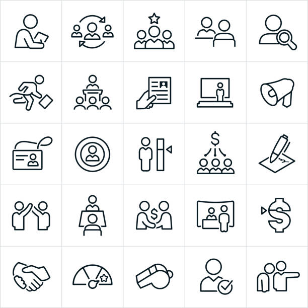 human resources icons - unemployment stock illustrations