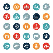 Icons related to the human resources and recruitment sectors of business. The icons show several business situations where human resources tasks are being performed. Some of these include recruiting, testing, training, assessing, searching for candidates, skills testing, interviewing and more.
