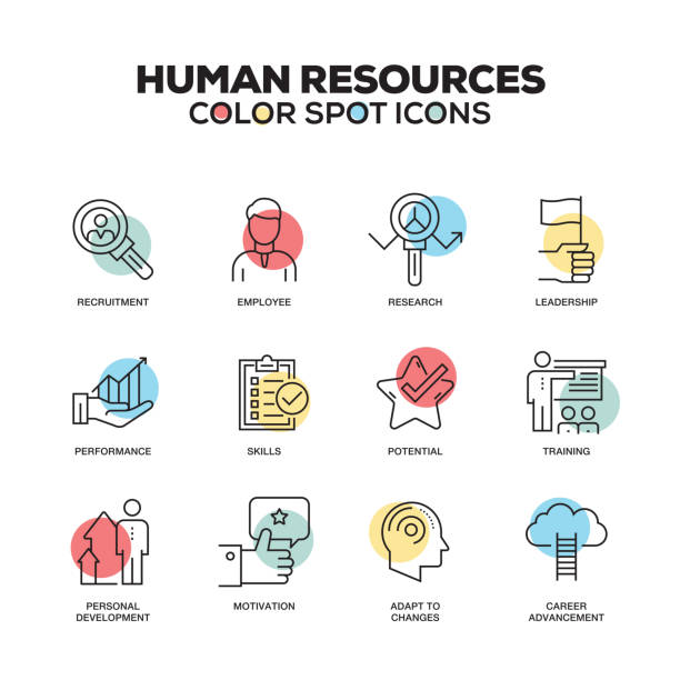 Human Resources icons. Vector line icons set. Premium quality. Modern outline symbols and pictograms. Human Resources icons. Vector line icons set. Premium quality. Modern outline symbols and pictograms. military recruit stock illustrations