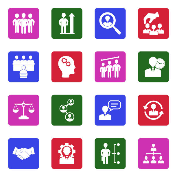 human resources icons. white flat design in square. vector illustration. - communication problems stock illustrations, clip art, cartoons, & icons