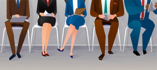 bildbanksillustrationer, clip art samt tecknat material och ikoner med mänskliga resurser intervju rekrytering. jobb-konceptet - job interview
