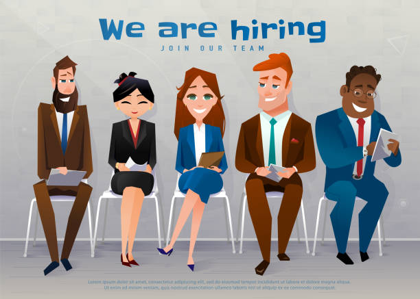 Human resources interview recruitment job concept. We are hiring text Human resources interview recruitment job concept. We are hiring text. People sitting on the chairs nears the wall, at the office. Vector illustration military recruit stock illustrations