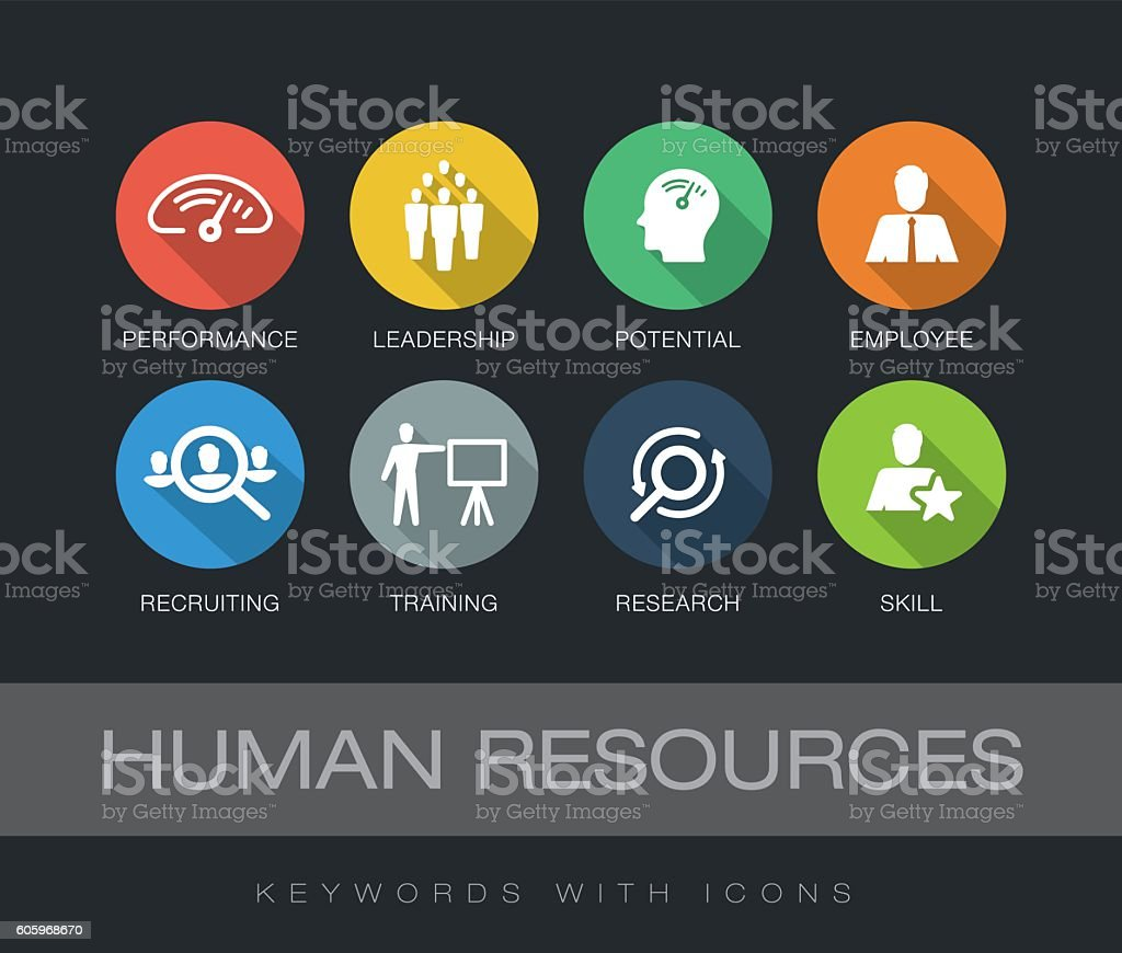 Human Resources keywords with icons vector art illustration