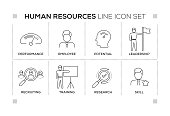 Human Resources keywords with monochrome line icons