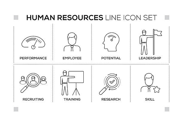 human resources keywords with monochrome line icons - gelegenheit grafiken stock-grafiken, -clipart, -cartoons und -symbole