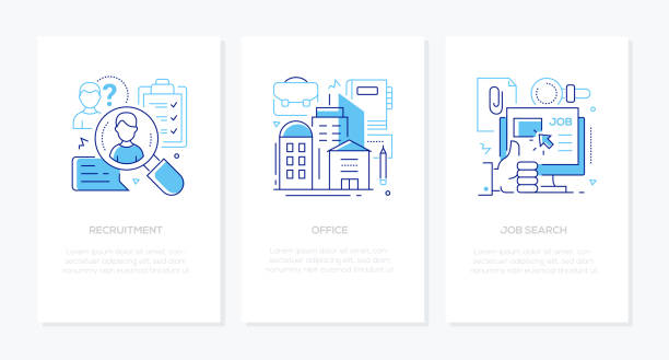 Human resources - line design style banners set vector art illustration