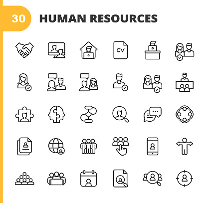 Human Resources Line Icons. Editable Stroke. Pixel Perfect. For Mobile and Web. Contains such icons as Recruitment, Occupation, Job, Employment, Labor, Meeting, Teamwork, Partnership, Office, Organisation, Presentation, Job Interview, Candidate, Resume.