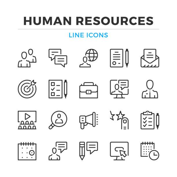 human resources linie icons set. moderne gliederung elemente, grafik-design-konzepte. schlaganfall, linearen stil. einfache symbole sammlung. vektor-linie-icons - arbeitsvermittlung stock-grafiken, -clipart, -cartoons und -symbole