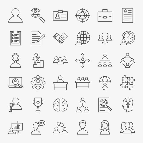stockillustraties, clipart, cartoons en iconen met menselijke hulpbronnen lijn icons set - cv icon