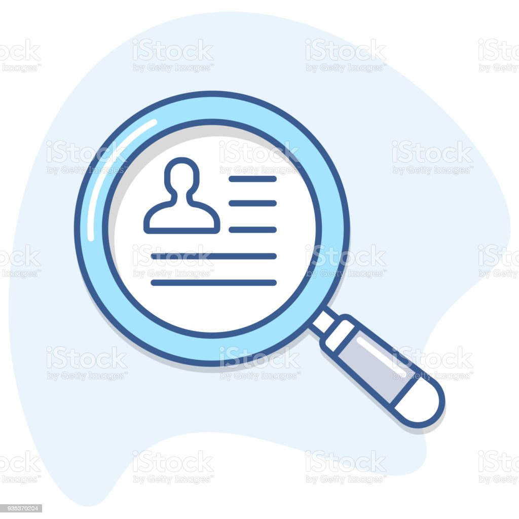 Human resources/ Magnifying glass and employee cv search vector icon. vector art illustration