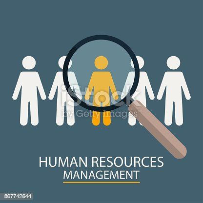 istock Human Resources Management. Candidate selection illustration. Magnifier with people silhouettes 867742644