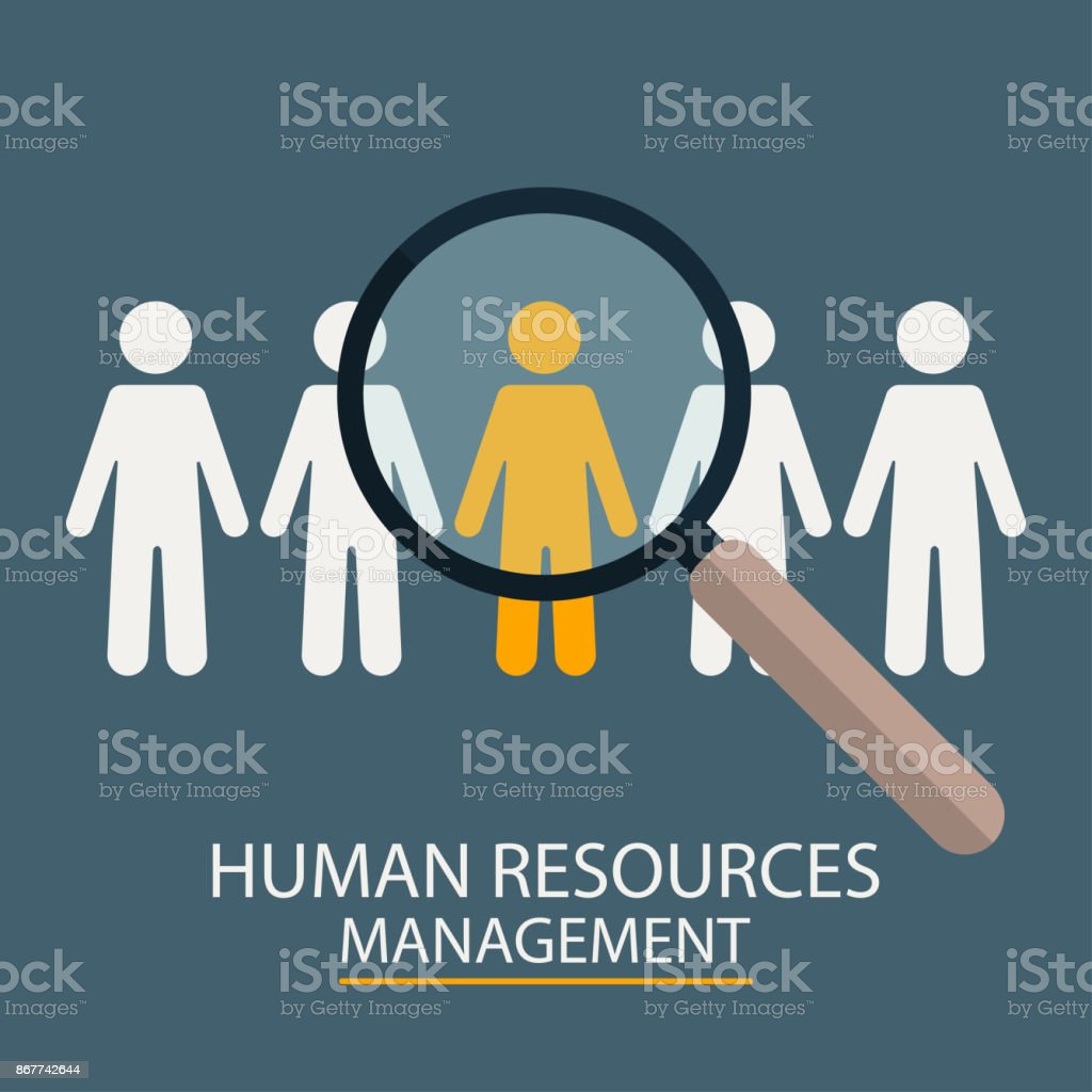 Human Resources Management. Candidate selection illustration. Magnifier with people silhouettes vector art illustration