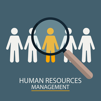 Human Resources Management Candidate Selection Illustration Magnifier With People Silhouettes Stock Illustration - Download Image Now