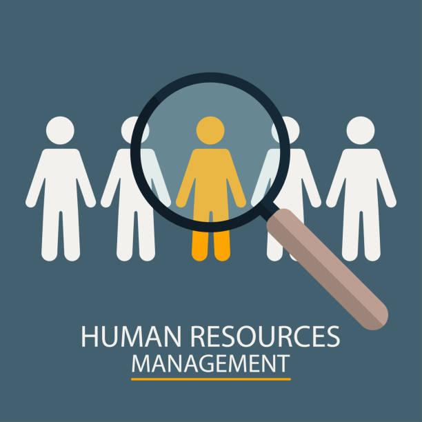 Human Resources Management. Kandidaten-Auswahl-Abbildung. Lupe mit Menschen-Silhouetten – Vektorgrafik