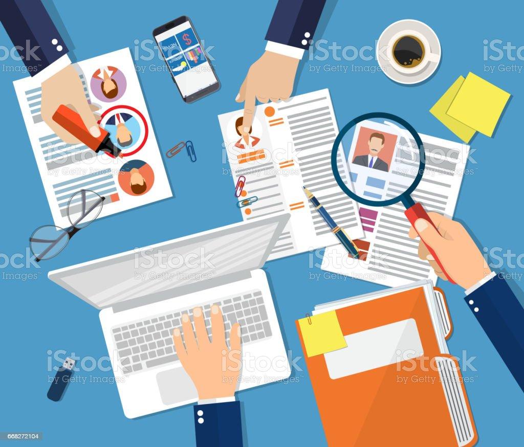 Human resources management concept vector art illustration