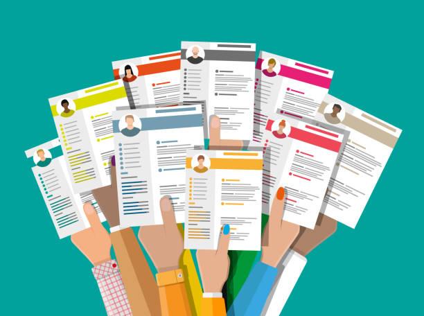 ilustrações de stock, clip art, desenhos animados e ícones de human resources management concept - job interview