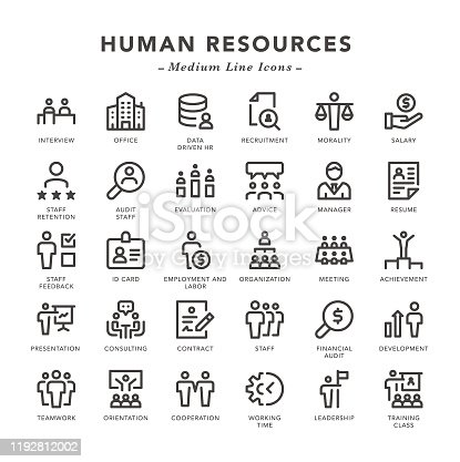 Human Resources - Medium Line Icons - Vector EPS 10 File, Pixel Perfect 30 Icons.