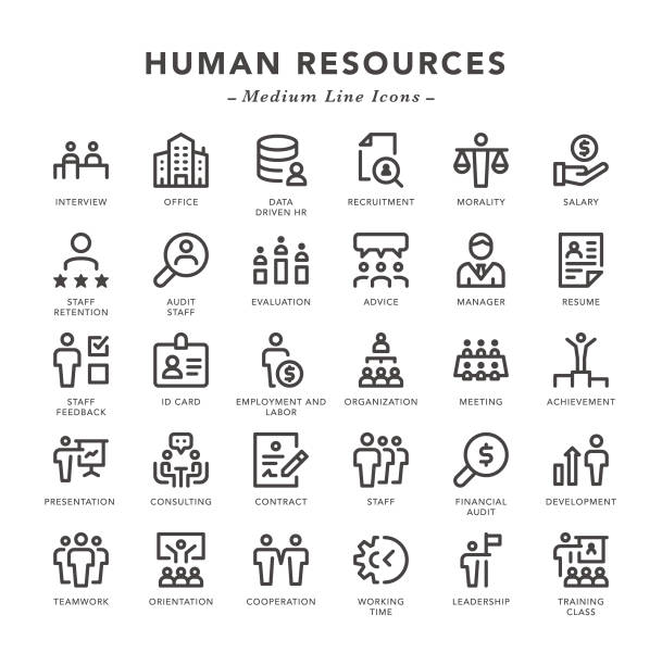 Human Resources - Medium Line Icons Human Resources - Medium Line Icons - Vector EPS 10 File, Pixel Perfect 30 Icons. memories stock illustrations
