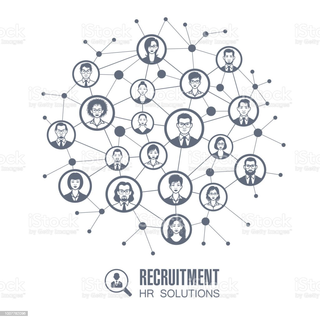 Human resources network vector art illustration