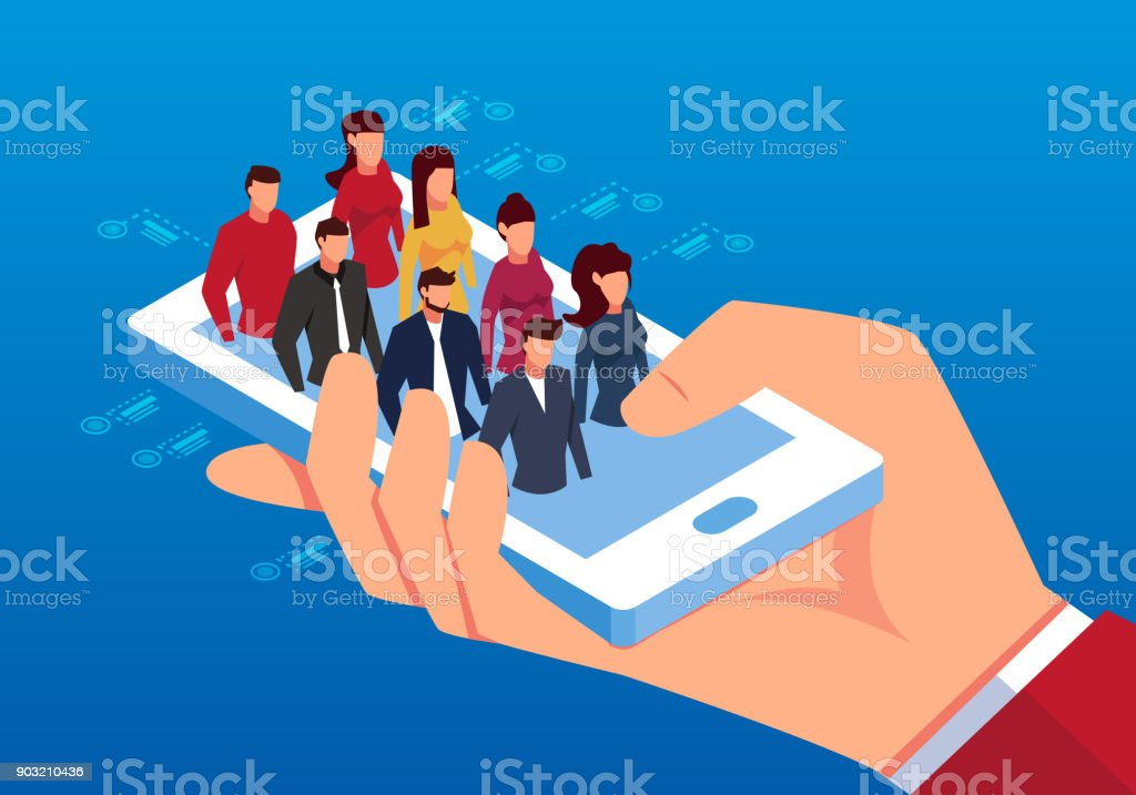Human resources on the phone vector art illustration