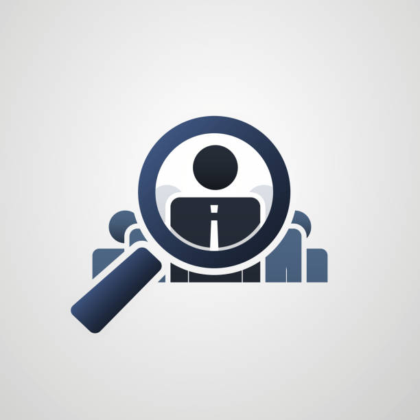 Human Resources, Personal Audit or Headhunter Symbol or Icon Design, Problem Analysis Concept Recruiting New Employees, Finding, Fixing HR Problems - Concept Design, Vector illustration recruiter stock illustrations