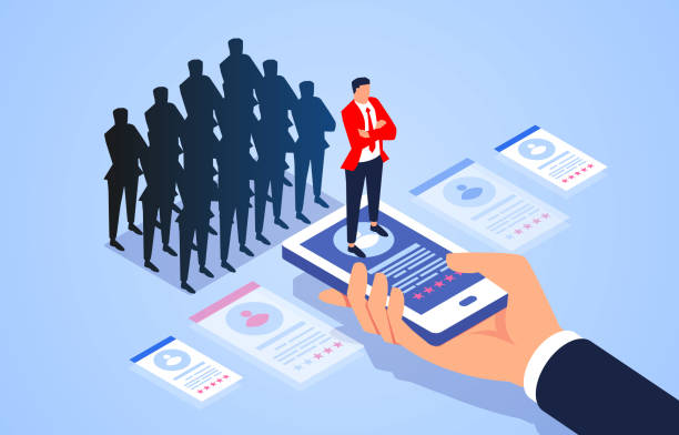 Human resources recruitment and selection, select from the crowd vector art illustration