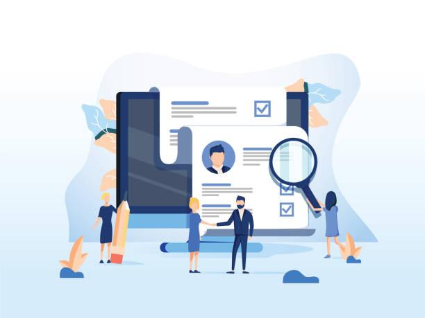 zasoby ludzkie, koncepcja rekrutacji na stronę internetową, prezentacja banerów, media społecznościowe, karty dokumentów i plakaty. - umiejętność stock illustrations