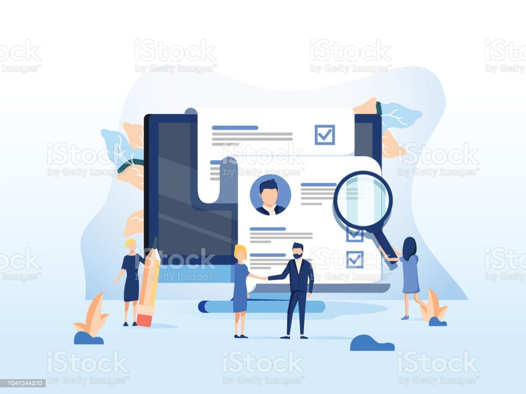 Human Resources, Recruitment Concept for web page, banner presentation, social media, documents cards and posters. vector art illustration