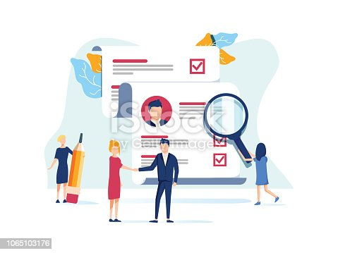 Human Resources, Recruitment Concept for web page, social media. Vector illustration people select a resume for a job, people fill out the form, hiring employees, recruitment agency, team work vector