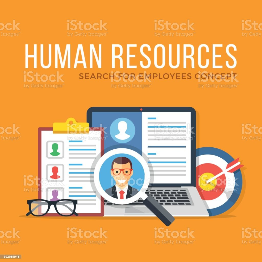 Human resources. Search for employees. Flat design graphic elements set. Modern vector illustration vector art illustration