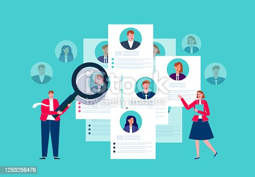 istock Human resources search, resume and recruitment, human resources department holding magnifying glass to select resume 1253256476