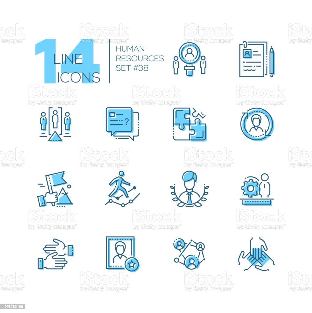 Ressources humaines - définir des icônes du style ligne design - Illustration vectorielle