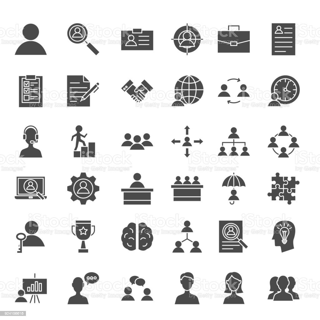 Human Resources Solid Web Icons vector art illustration