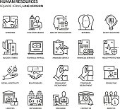 Human resources, square icon set