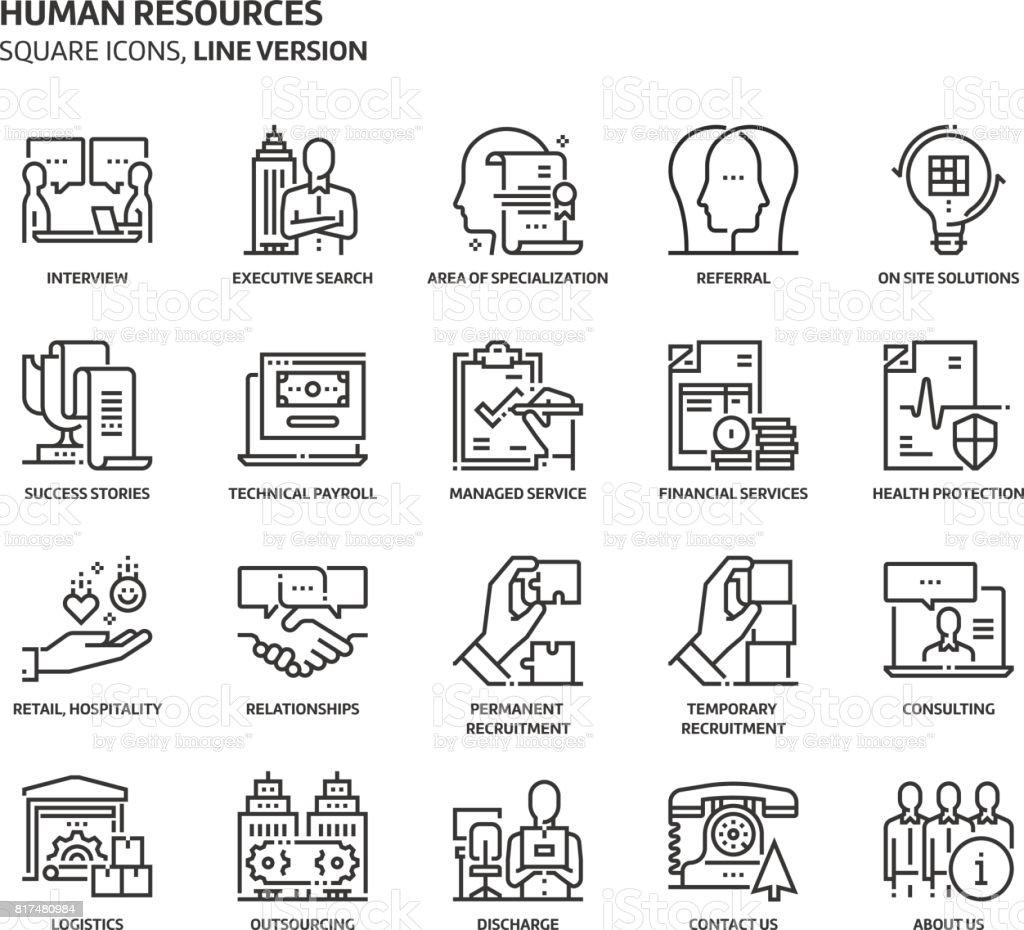 人材、正方形のアイコンを設定します。 ベクターアートイラスト