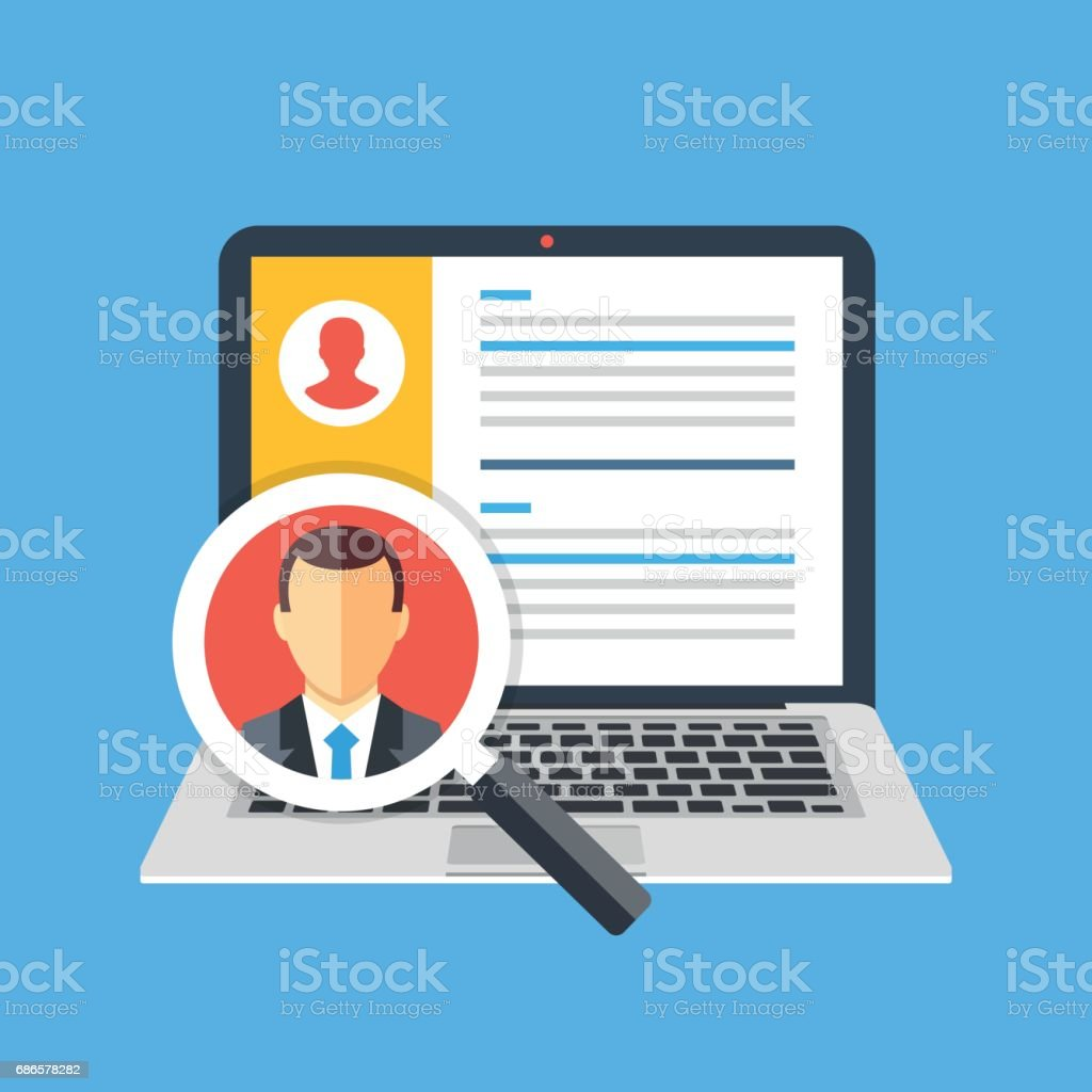 Human resources, staffing concept. Laptop with candidates list and magnifying glass with candidate icon. Creative graphic elements. Modern flat design vector illustration vector art illustration