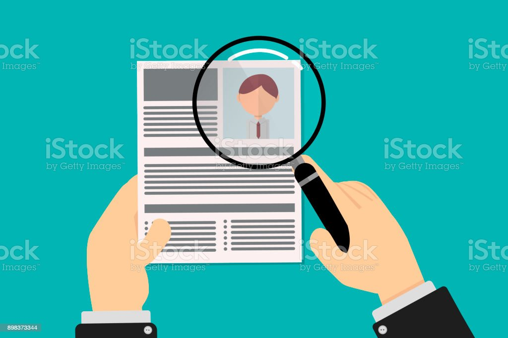 Human resources talent recruiter revises resume with magnifying glass, hands of executive man in suit, vector in flat design vector art illustration