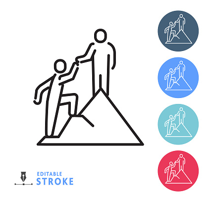 Human resources team work helping business people thin line Icon - editable stroke