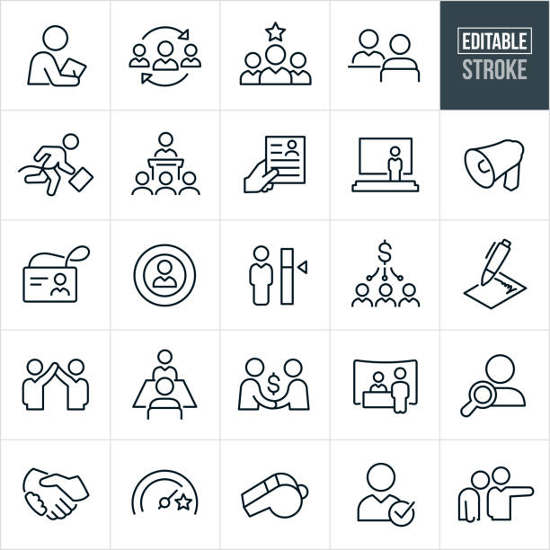 Human Resources Thin Line Icons - Editable Stroke A set of human resources and employment icons that include editable strokes or outlines using the EPS vector file. The icons include an HR manager, new hire, job candidate, job interview, employee, presentation, bullhorn, resume, name badge, payroll, contract, hiring, job fair, employee search, handshake, whistle and a person being fired just to name a few. recruiter stock illustrations